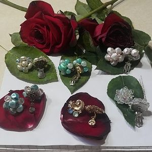 Vintage clip earrings 6 pairs